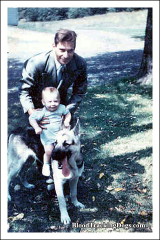 My dad, our german shepherd Rogue, and trackerJohn in 1955